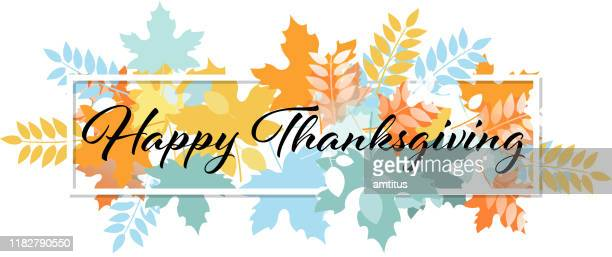 happy thanksgiving - panoramic stock illustrations