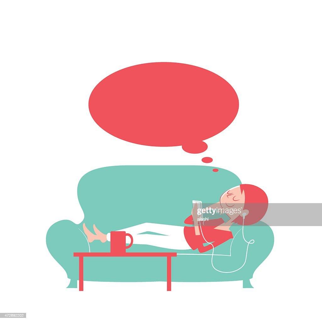 Happy thoughtful woman using smart phone lying on the sofa