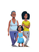 happy three generations african american family celebrating women international 8 march day concept female characters full length vertical