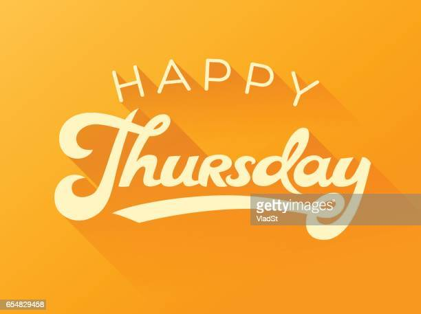 happy thursday calligraphy note card - thursday stock illustrations