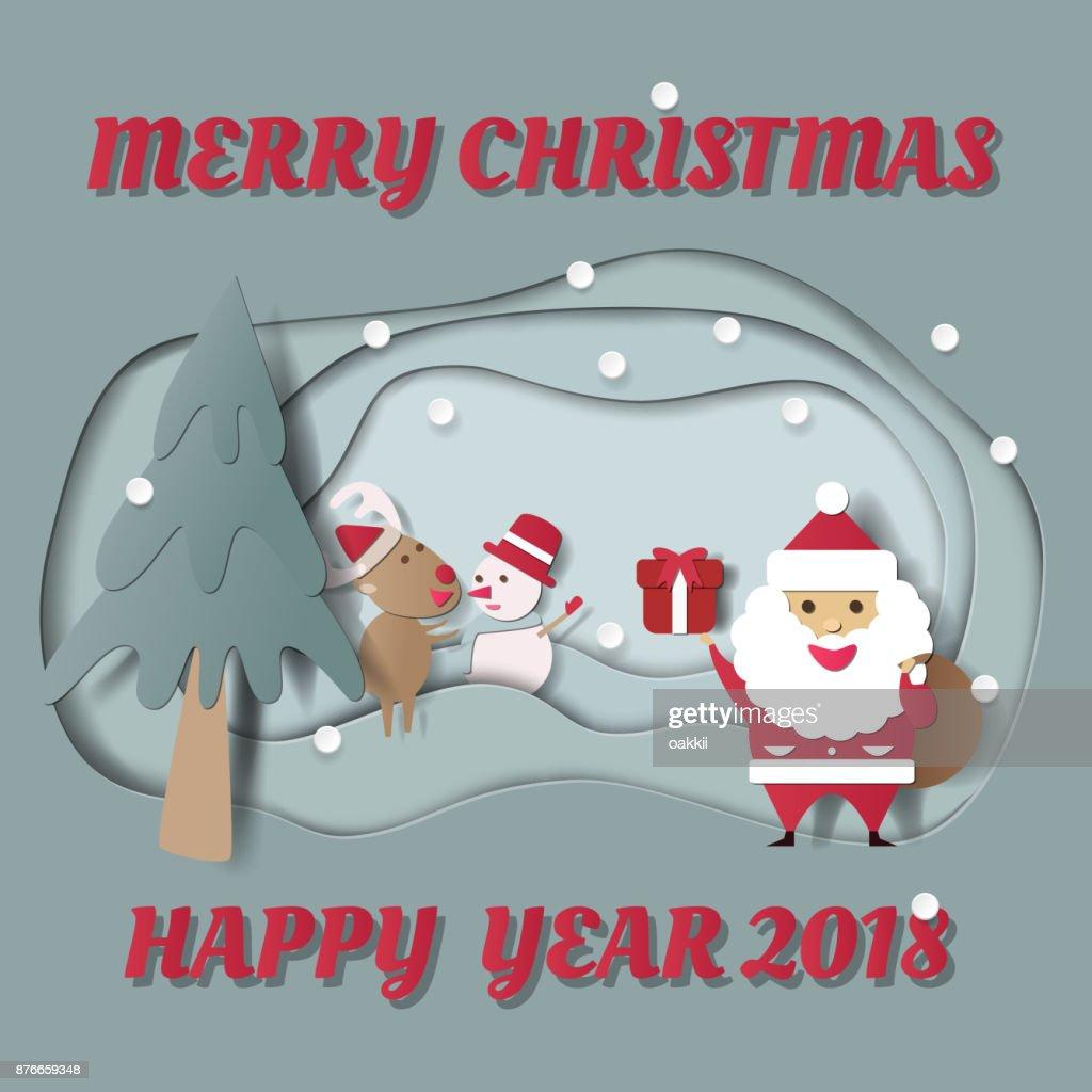 Glückliche Zeit Mit Weihnachtsmann Und Rentier Im Schnee Frohe ...