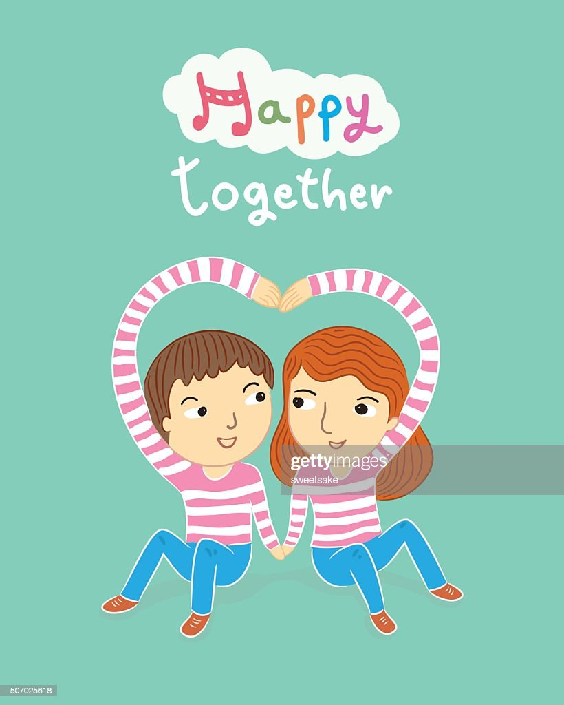 happy together my sweetheart cartoon vector illustration