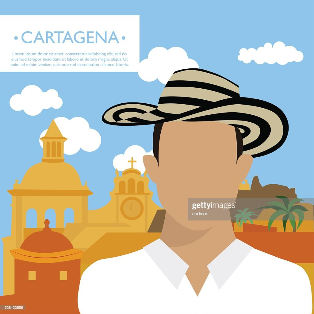Happy tourist in Cartagena : stock illustration