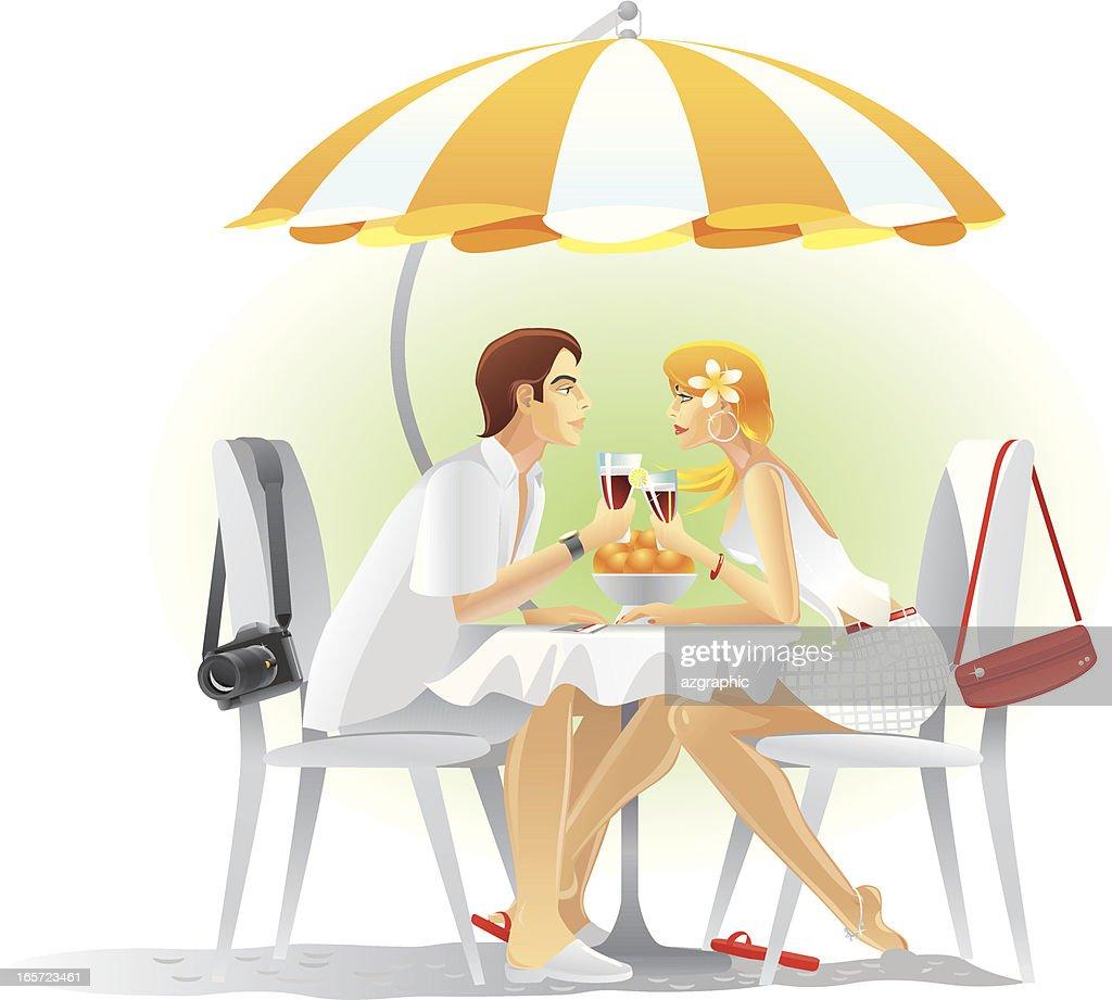 Happy tourists couple on an Island