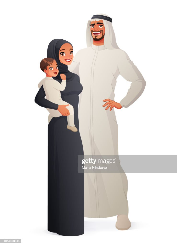 Happy traditional Arab family portrait. Vector illustration.