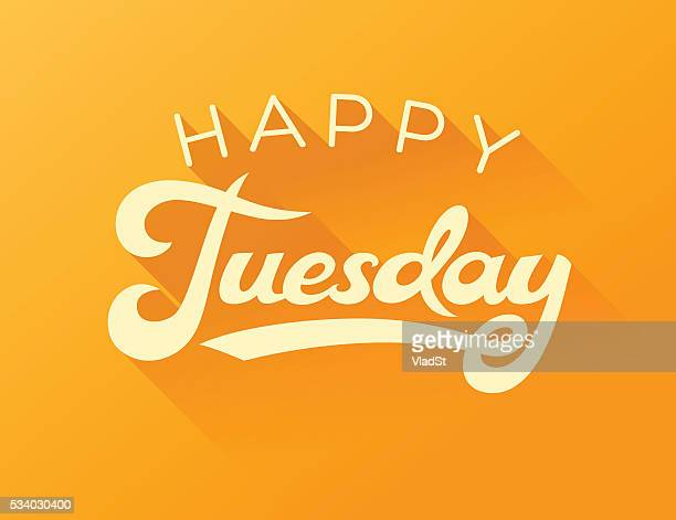 happy tuesday calligraphy note card - tuesday stock illustrations