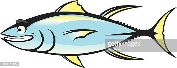ilustraciones, imágenes clip art, dibujos animados e iconos de stock de feliz atún - bonito del norte