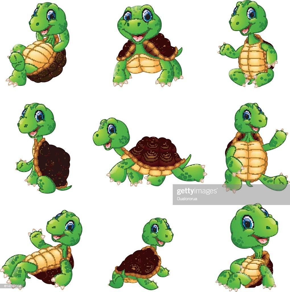 Happy turtle cartoon collection set