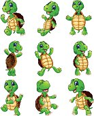 Happy turtle cartoon collection set