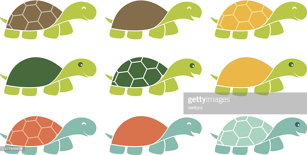 Happy Turtle Icon Logo Set
