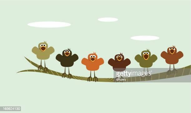ilustrações de stock, clip art, desenhos animados e ícones de a twittar feliz - canto de passarinho