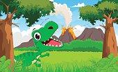 happy tyrannosaurus cartoon with the prehistoric background