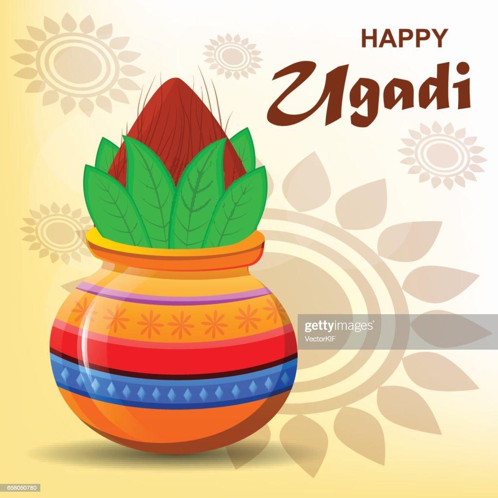 Happy Ugadi And Gudi Padwa Hindu New Year Greeting Card For Holiday