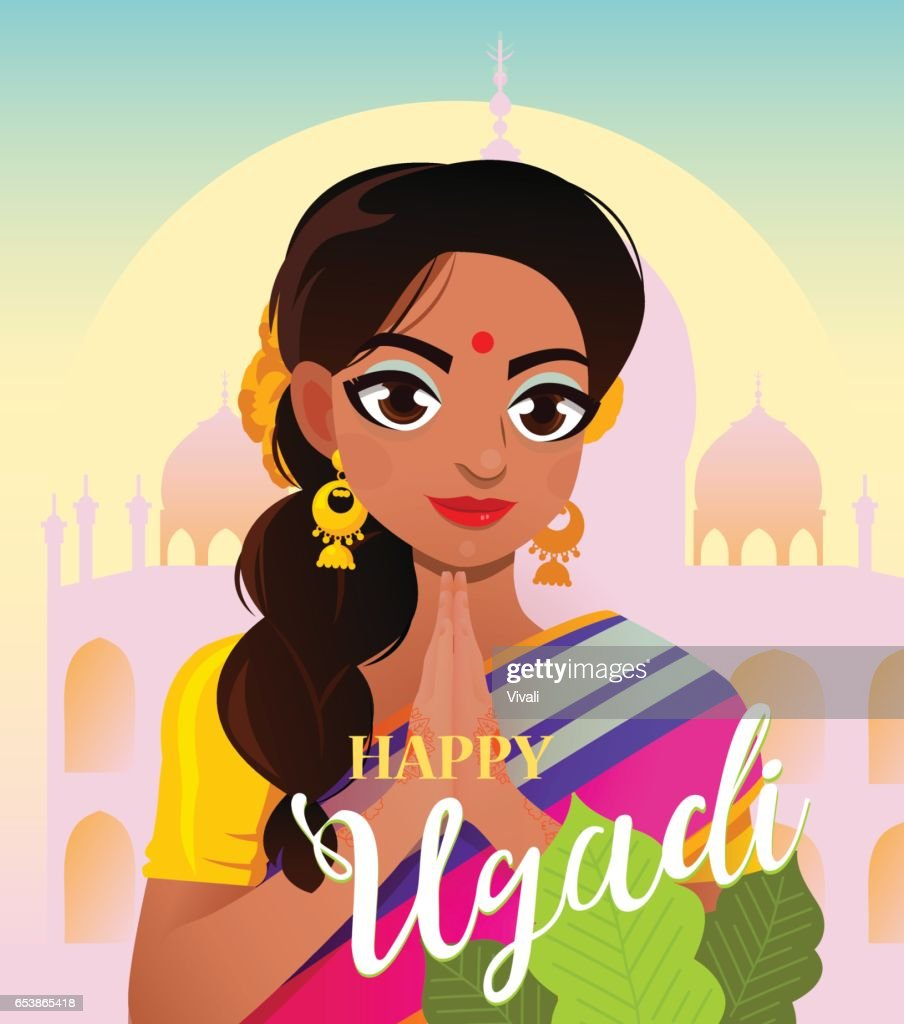 Happy Ugadi Gudi Padwa Hindu New Year Card Character Positive Indian