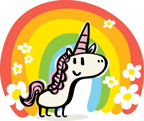 happy unicorn doodle - unicorn stock illustrations