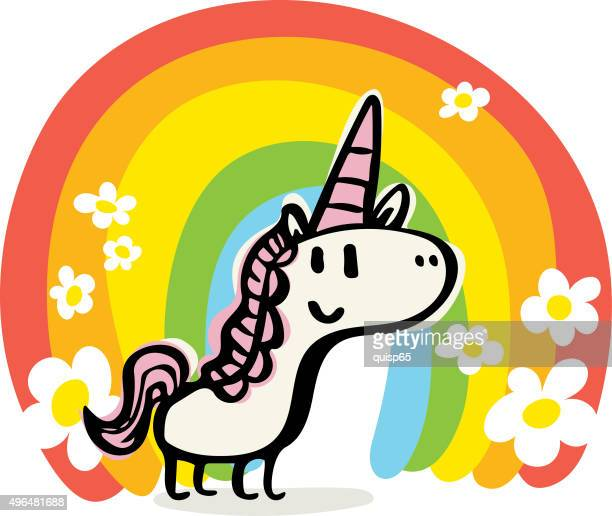 happy unicorn doodle - unicorn stock illustrations