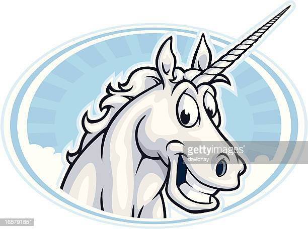 happy unicorn mascot - unicorn stock illustrations