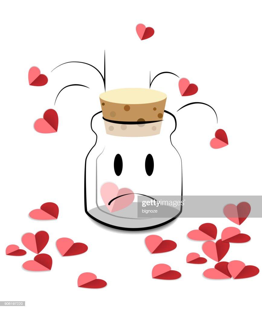 Happy valentine day, Cartoon bottle keeping heart.