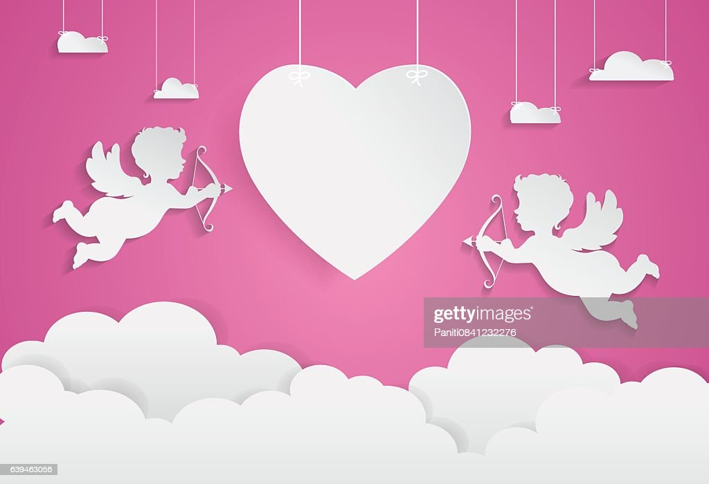 happy valentine day,heart shape and cupid on sky