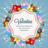 happy valentine with love and flower