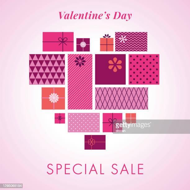 ilustrações de stock, clip art, desenhos animados e ícones de happy valentines day background with love hearts and gift boxes. valentine`s day sale template. - fevereiro