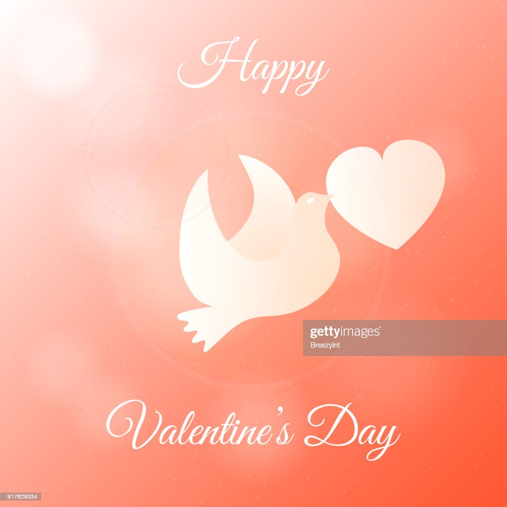 Happy Valentines Day Banner. Gift, Greeting Card with Dove and Heart in Sky