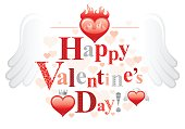 Happy Valentines day border, romance love text lettering, Vector illustration.