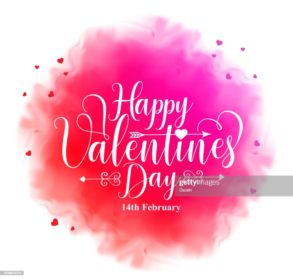 Happy valentines day calligraphy text in colorful watercolor