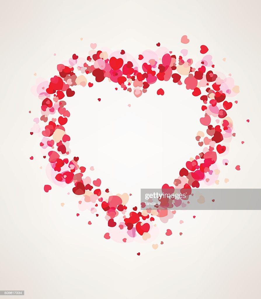 Happy Valentine's day card hearts frame light, vector illustration.