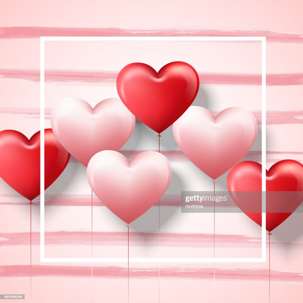 Happy Valentines Day Card Template With Pink And Red Heart Balloons