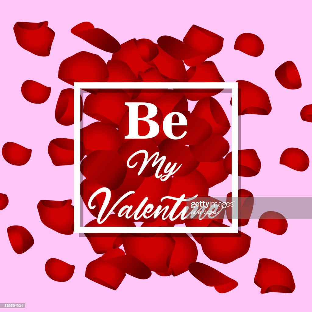 Happy Valentines Day Card With Flower Rose Petals Vector Art Getty