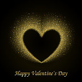 Happy Valentines Day Card with Gold Glittering Star Dust Heart