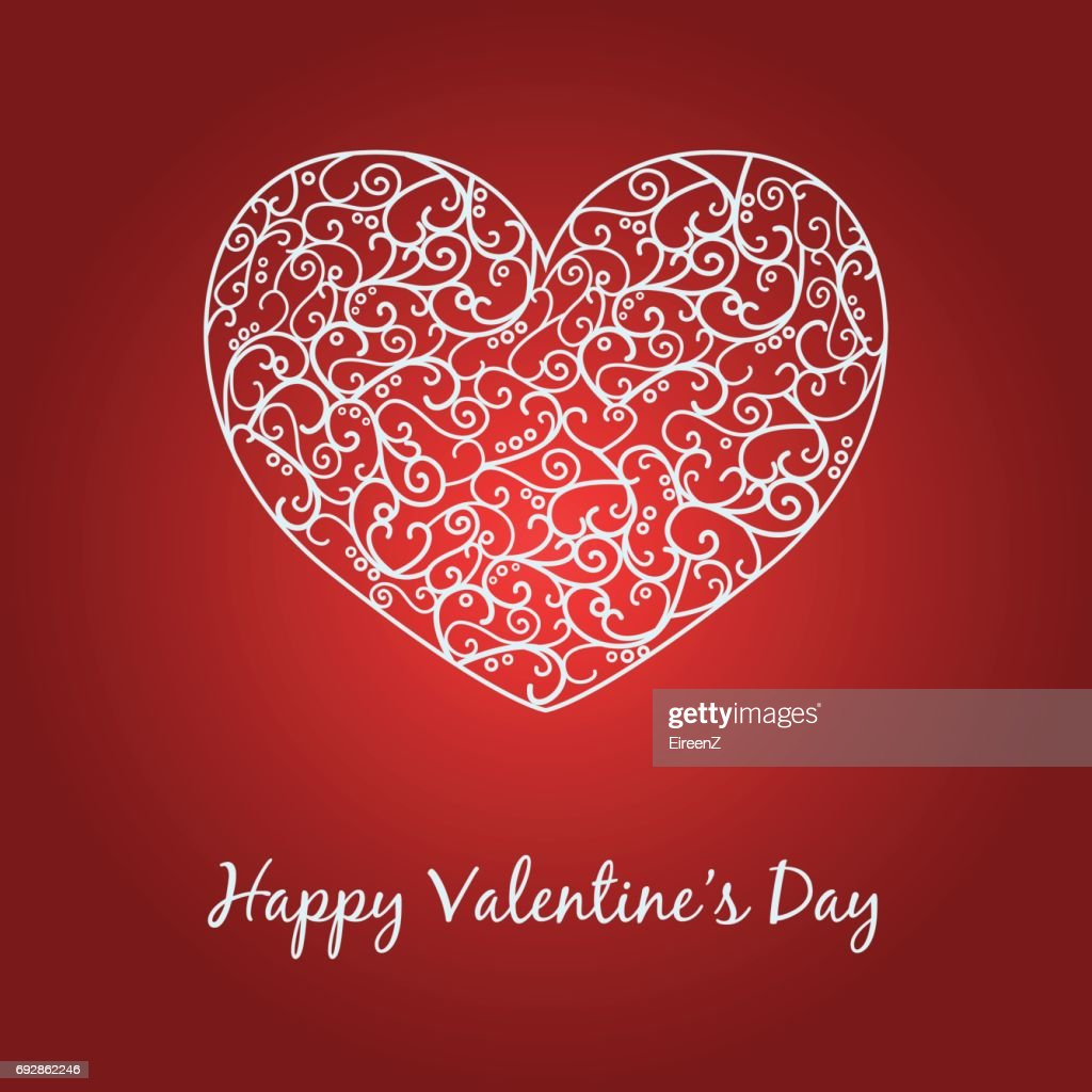 Happy Valentines Day Card With Heart And Text Vector Art Getty Images