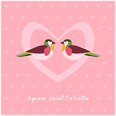 Happy Valentines Day Card with two Birds in Heart.