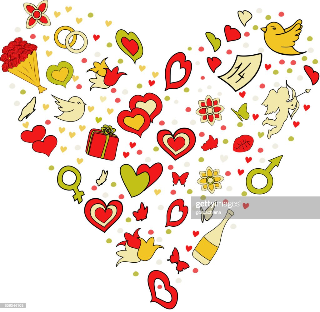 Happy Valentine's day concept. Cartoon vector hand drawn Doodle in heart shape. illustration. Line art detailed design background with objects and symbols: gift, rings, angel, hearts, kiss, flowers.