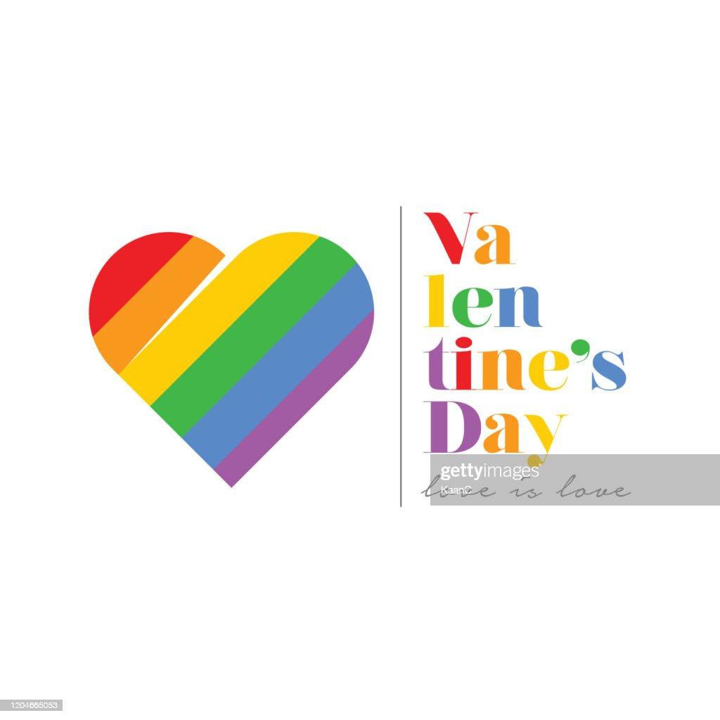 LGBTの人々のためのハッピーバレンタインデーのコンセプト、2月14日 : ストックイラストレーション