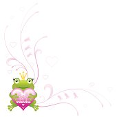 Happy Valentines day corner, romantic love heart, frog. Vector illustration.