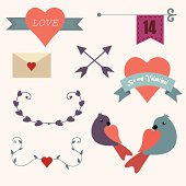 Happy Valentines day design elements vector set