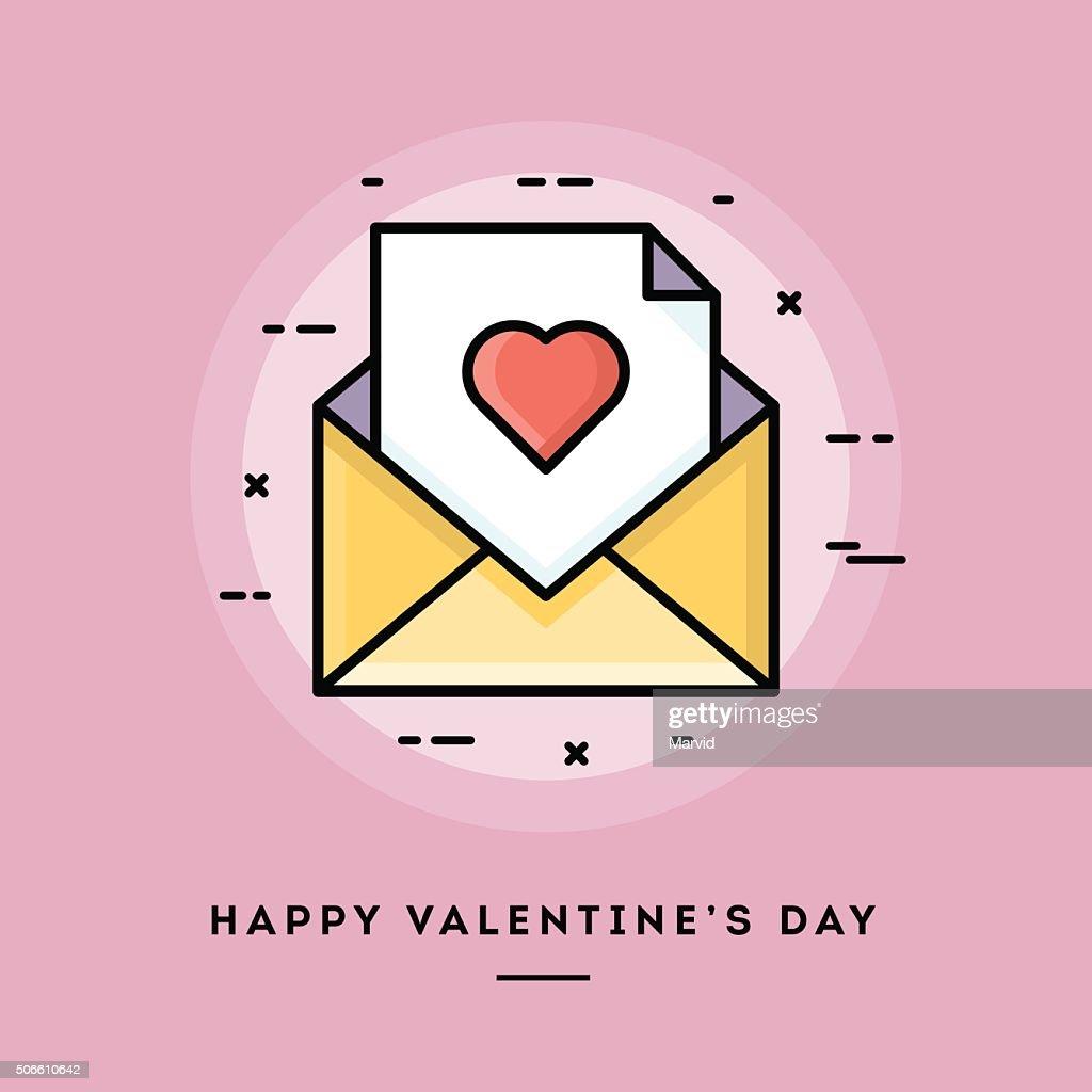 Happy Valentine's day, flat design thin line banner