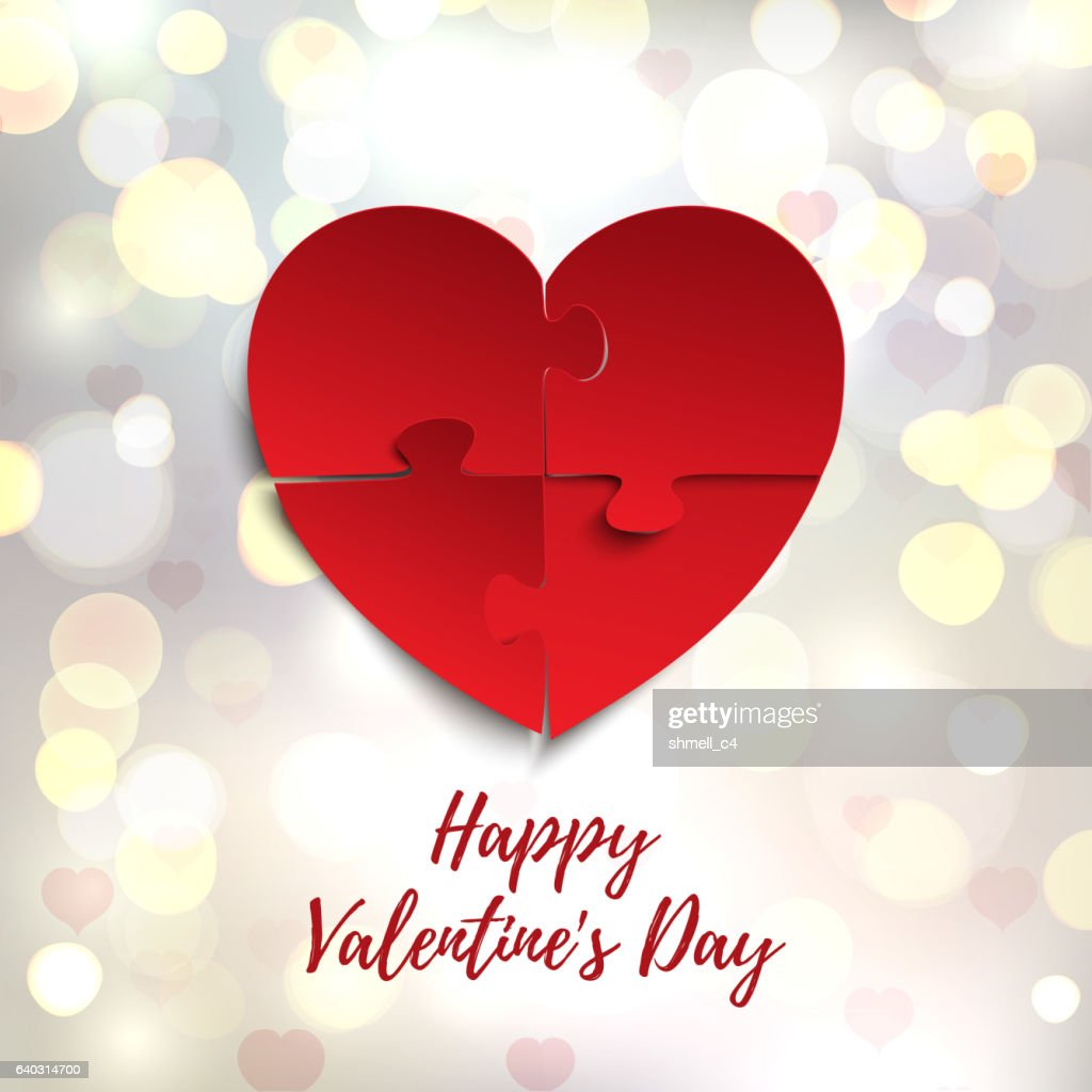 Happy Valentines Day, greeting card template. Jigsaw puzzle pieces.