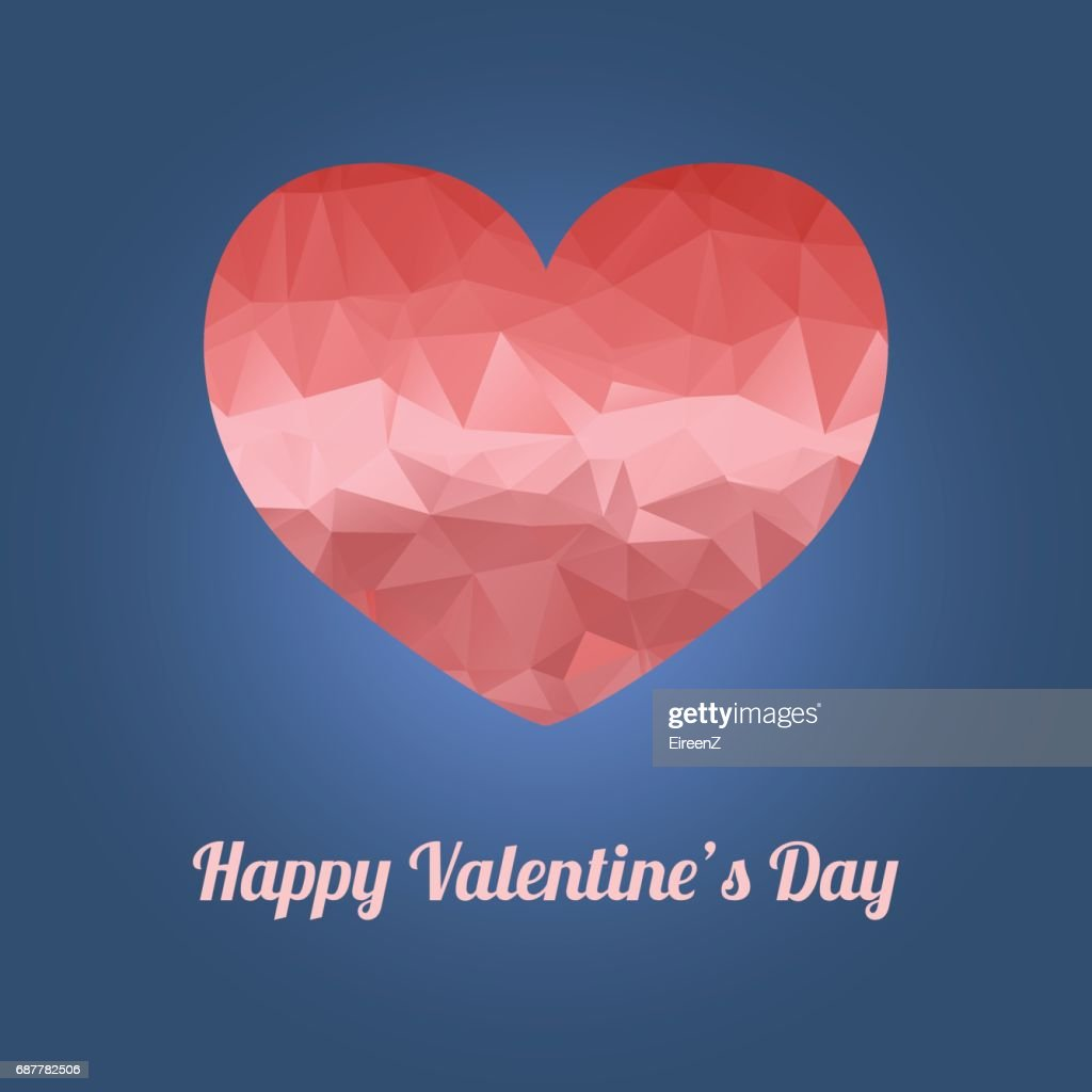 Happy Valentines Day Greeting Card With Heart And Text Vector Art