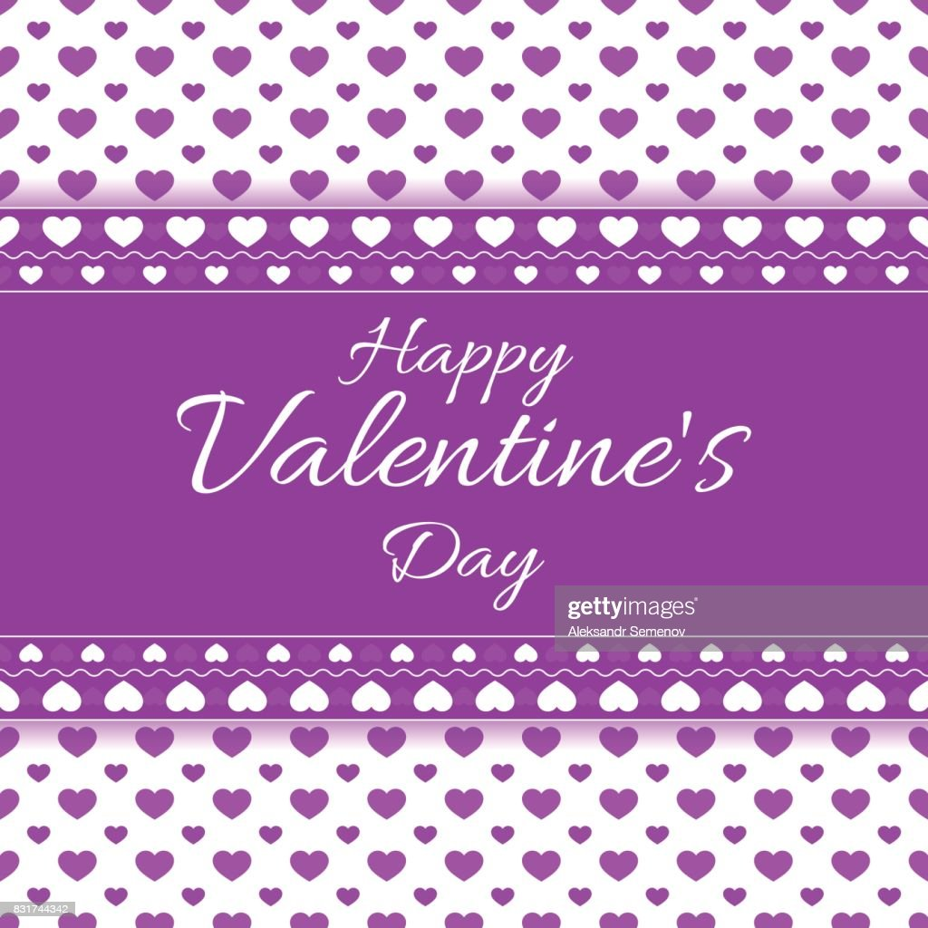 Happy Valentines Day Greeting Card With Hearts And Place For Text