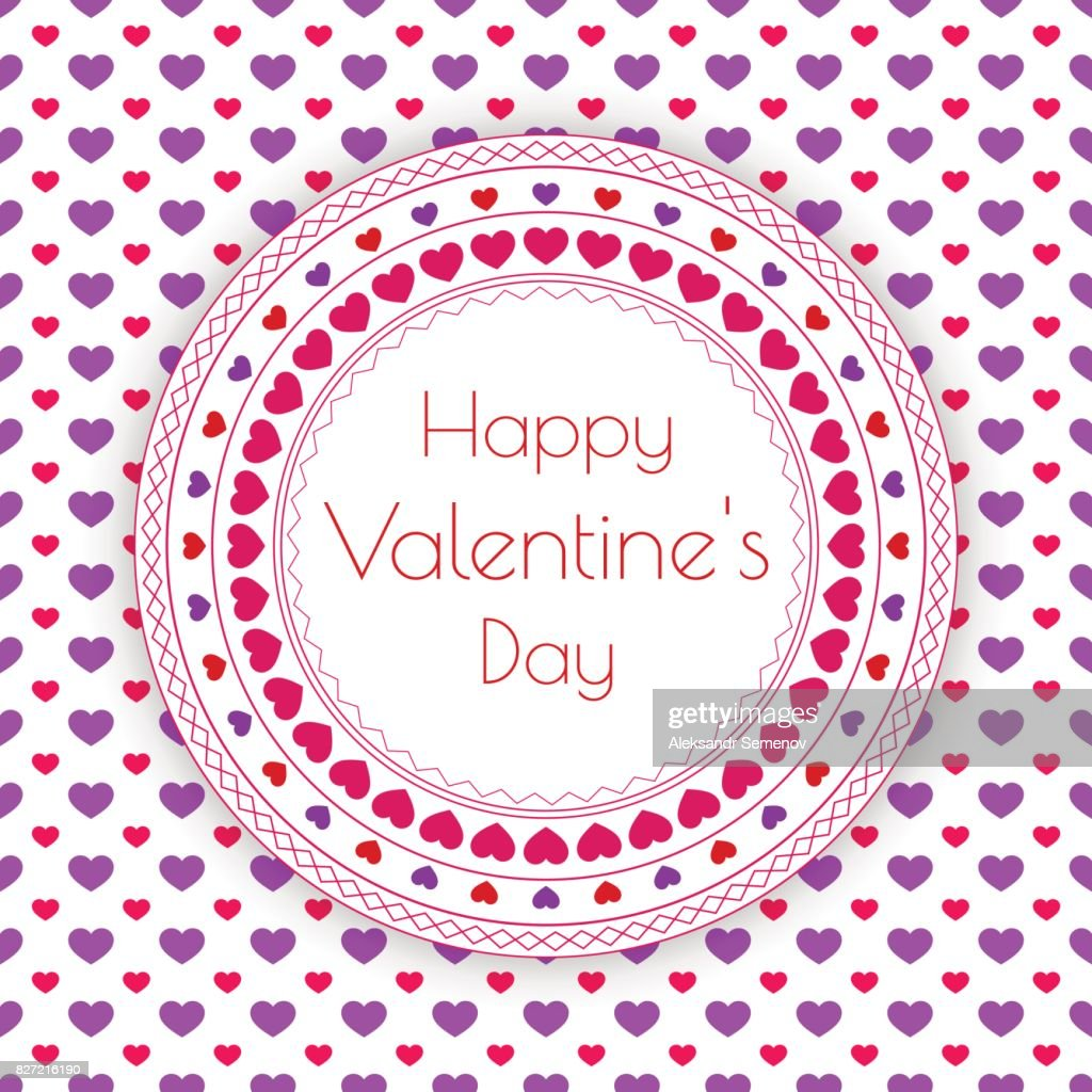 Happy Valentine's Day Greeting Card with hearts. Vector illustration.