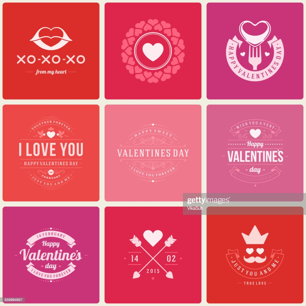 Happy Valentine's Day greetings cards, labels, badges