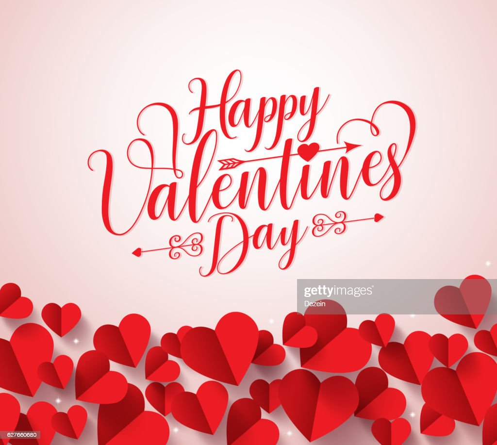 Happy valentines day greetings typography in background with paper cut