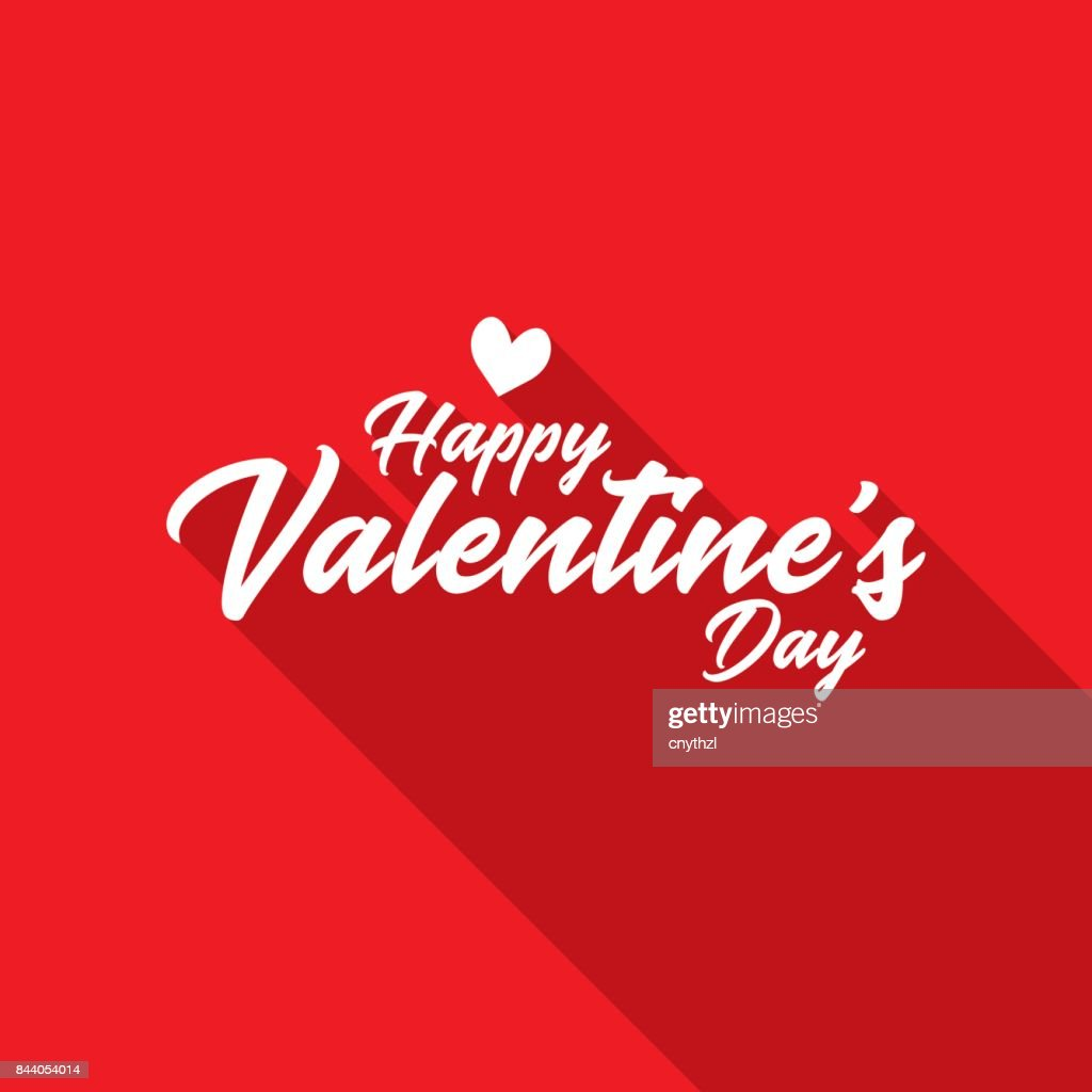 Happy Valentine's Day Hand Lettering with Long Shadow : stock illustration