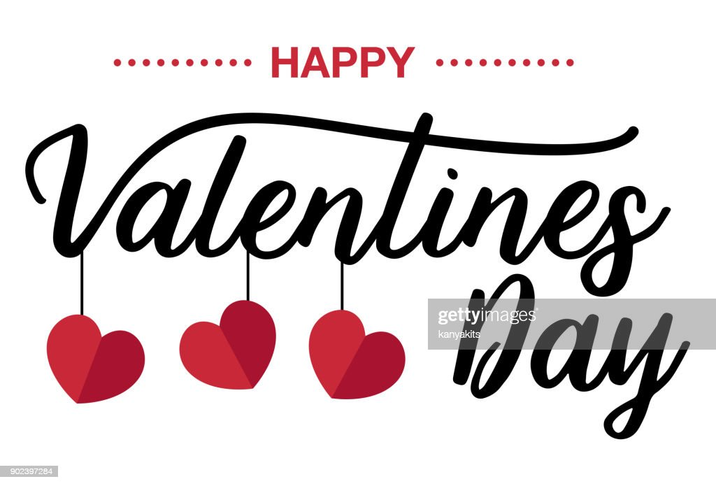 Happy Valentines Day, Handwritten text on white background
