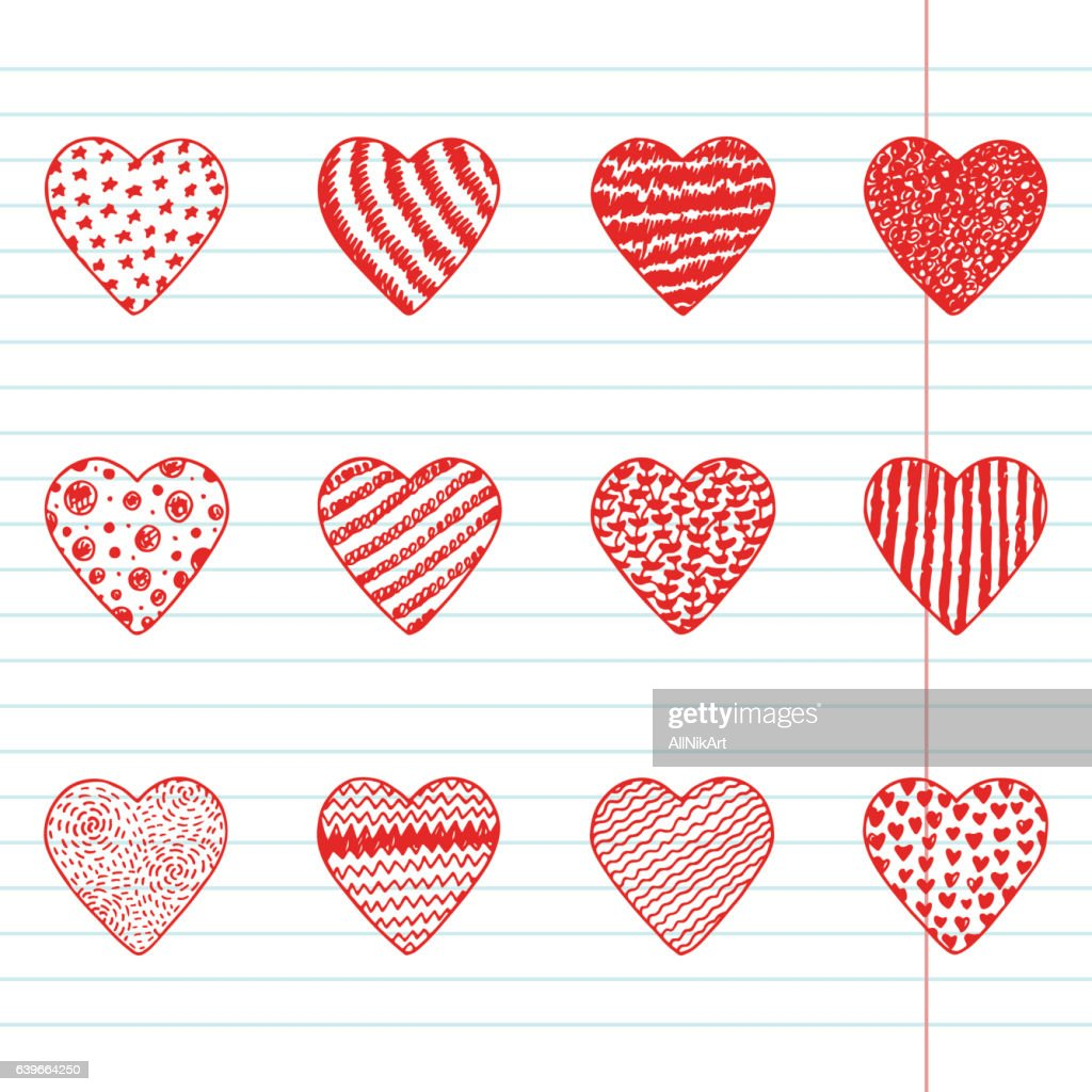Happy Valentines Day Hearts Set Hand Drawn Doodle Hearts Icons