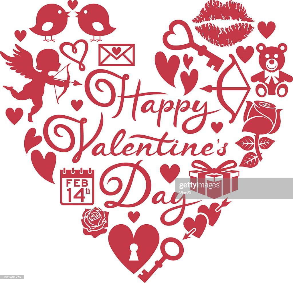 Happy Valentines Day Icons In Heart Shape Vector Art Getty Images