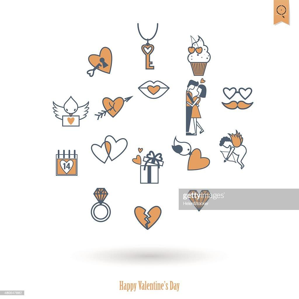 Happy Valentines Day Icons : Vector Art